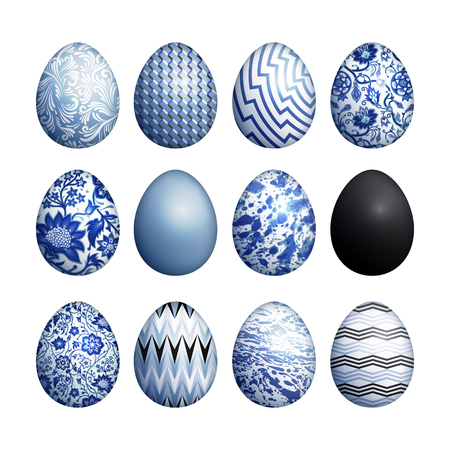 Easter eggs set. Realistic image isolated on white background. Flower, geometric and marble patterns. Blue, black and white color. Vector illustration art.