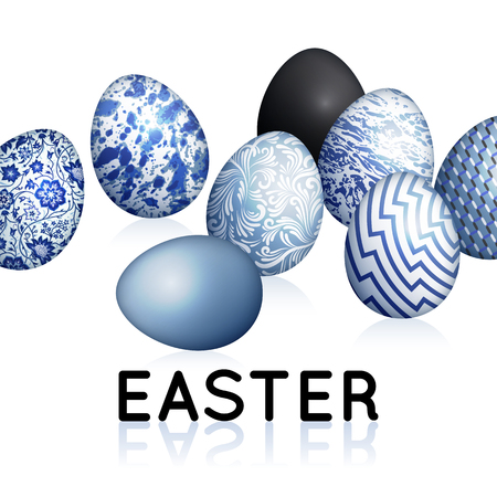 Easter card with realistic Easter egg and inscription Easter. Floral, geometric, and marble patterns. Blue, white and black color. Vector illustration art. Festive design.