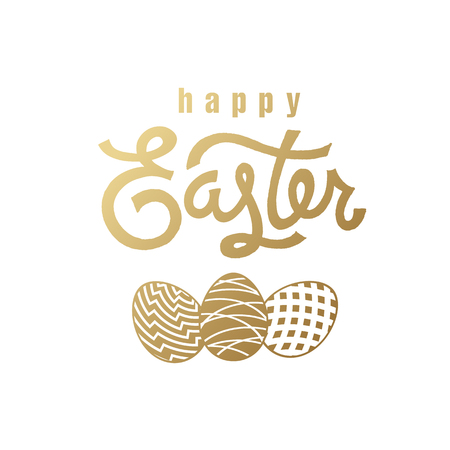 Festive card with the inscription Happy Easter and the silhouette of the Easter eggs. Gold foil on the white background. Vector illustration art. Template for creating festive products.