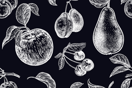Fruits and berries. Seamless pattern. White chalk on black board. Vector illustration art. Vintage engraving. Realistic hand drawing. Template with nature motifs for kitchen design. Vegetarian food