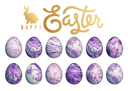 Easter eggs set isolated on white background, lettering Happy Easter and silhouette of Easter bunny. Flower, geometric and marble patterns. Purple color and gold foil. Vector illustration art.