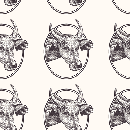 Cow. Seamless pattern with farm animal. Hand drawing of head livestock in frame. Vector illustration art. Black and white. Old engraving. Vintage. Design for fabrics, paper, textiles, wallpaper