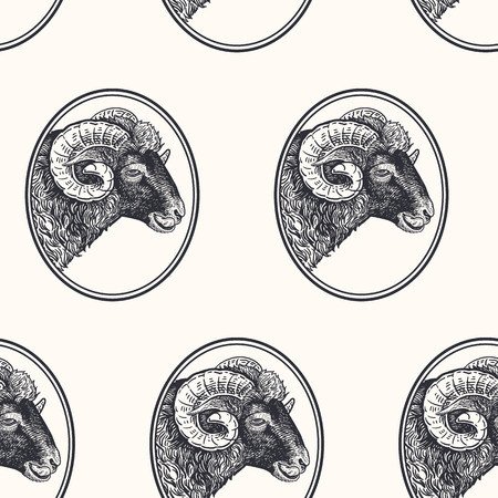 Ram. Seamless pattern with farm animal. Hand drawing of head livestock in frame. Vector illustration art. Black and white. Old engraving. Vintage. Design for fabrics, paper, textiles, wallpaper Illustration