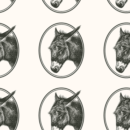 Donkey. Seamless pattern with farm animal. Hand drawing of head livestock in frame. Vector illustration art. Black and white. Old engraving. Vintage. Design for fabrics, paper, textiles, wallpaper