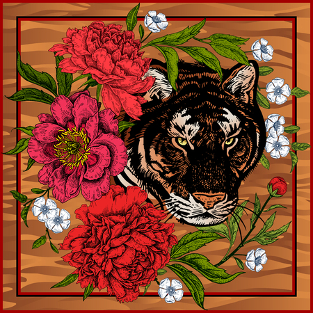 Garden peonies and wild tiger. Template for design scarf or pillow. Print with animal and flowers. Wildlife motifs. Vector illustration. Beast style. Archivio Fotografico - 125810519