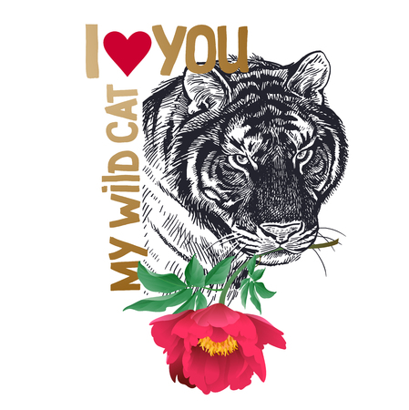 Valentine card. Declaration of love. Congratulatory card with animal tiger, flower peony, text I love you My wild cat. Valentines Day poster or flyer. Vector illustration. Day of Love.