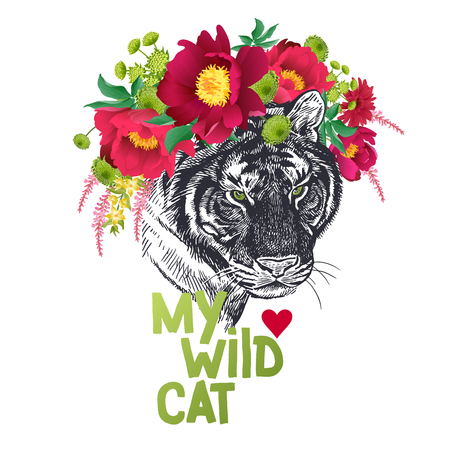 Valentine card. Declaration of love. Congratulatory card with animal tiger, wreath of flowers peonies, text My wild cat. Valentines Day poster or flyer. Vector illustration. Day of Love.