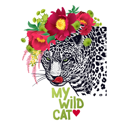 Valentine card. Declaration of love. Congratulatory card with animal leopard, wreath of flowers peonies, text My wild cat. Valentines Day poster or flyer. Vector illustration. Day of Love. Ilustrace