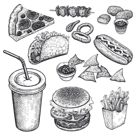 Food and drink. Burger, fries, pizza, nuggets, kebabs, garlic, ketchup, hot dog isolated on white background. Designed for fast food restaurants and cafes. Vector illustration art set. Black and white