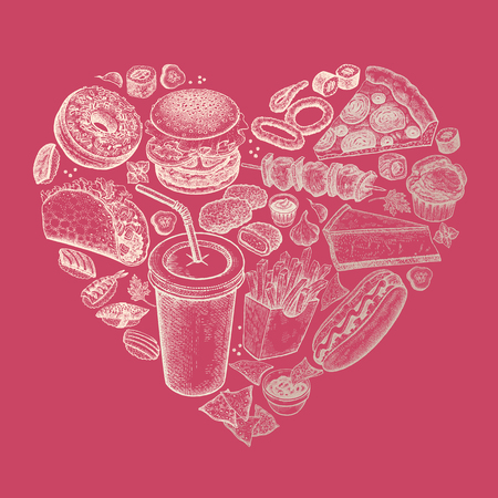 Delicious heart fast food. Vector illustration art set. Burger, french fries, pizza, hot dog, nachos, barbecue, donut, taco, nuggets, sushi gold foil on pink background. Vintage engraving Luxury style