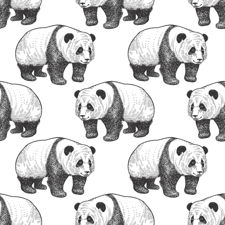 Bear Panda. Seamless pattern with animals of China. Hand drawing of wildlife. Vector illustration art. Black and white. Old engraving. Vintage. Design for fabrics, paper, textiles, fashion. 일러스트