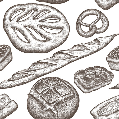 Bread products seamless pattern. Vintage engraving style. Vector illustration of food design for textiles, paper, wrapping, packaging, fabric, tissue. Hand drawing. White and brown.