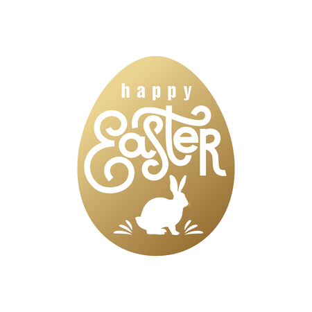 Festive card with the inscription Happy Easter and the silhouette of the Easter Bunny. Gold foil on the white background. Vector illustration art.