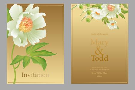 Invitation wedding card template. Design  peonies flowers golden background. Pastel vintage style Vector Bridal bouquet garden flowers. White & print gold foil. Luxury pattern. Oriental nature graphic Иллюстрация