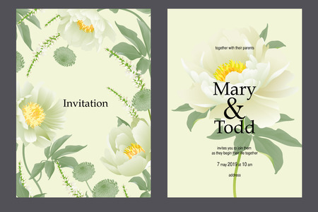 Invitation wedding template set. Pastel cards with floral wreaths. Delicate white peonies on pastel background. Vintage style. Vector. Bridal bouquet garden flowers. Luxury pattern. Motives of nature