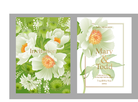 Cards wedding invitations set. Decoration with bouquet of garden flowers peonies, gerberas, aster on white background. Floral vector illustration. Vintage. Victorian style. White and green color