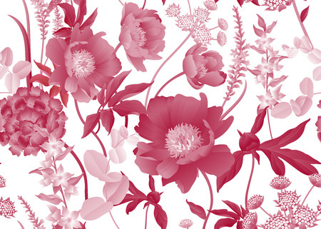 Floral seamless pattern. Garden flowers. Peonies, hydrangeas, Eucalyptus branches, foliage, herbs. Vector illustration. For fashion industry, interior decoration, paper, wallpaper. Victorian. Vintage