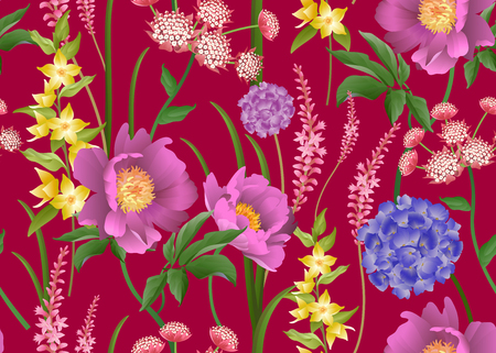 Floral seamless pattern. Garden flowers peonies, hydrangeas, foliage, herbs on red background. Vector illustration. For fashion industry, interior decoration, paper, wallpaper. Victorian. Vintage