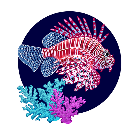 Decoration with coral fish zebra & coral on white background. Vector illustration. Animal of underwater world. Hand drawing sketch. Vintage engraving. Sea oceanic animal. Pattern for kitchen utensils 일러스트