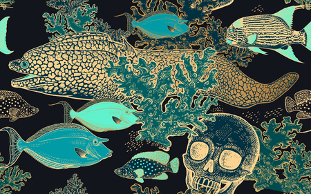 Underwater world. Seamless pattern kitchen design. Coral decorative fish, corals and human skull. Illustration of seabed. Ocean floor. Vector. Vintage engraving. Black, turquoise, white & gold. Sketch