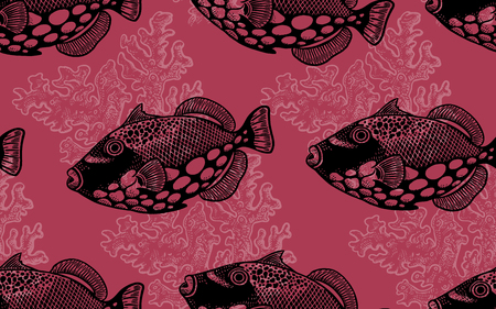Seamless vector pattern decorative fish butterfly and coral under water. Sea bottom and animals. Vintage engraving art. Hand drawing sketch. Kitchen design with seafood for paper, fabrics, wallpaper