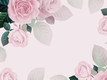 Floral card. Flowers roses pink background. Floral frame for design wedding invitations, greetings, business card, decoration floral shops, packaging, shop windows, signboards. Vintage illustration
