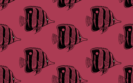 Seamless vector pattern decorative fish butterfly under water. Sea bottom and animals. Vintage engraving art. Hand drawing sketch. Kitchen design with seafood for paper, fabrics, wallpaper. Black red Ilustração