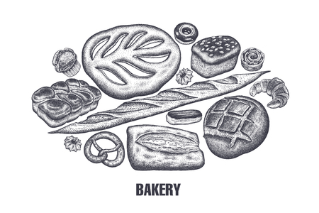 Hand drawing bakery products set. Rye and wheat bread, pastries variations. Black and white sketch. Vector illustration of food. Vintage engraving style.