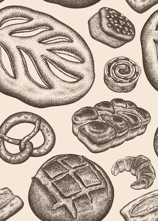 Bäckerei. Nahtloses Küchenmuster. Vintage-Gravur-Stil. Vektorillustration des Lebensmitteldesigns für Textilien, Papier, Verpackung, Verpackung, Stoff, Gewebe. Handzeichnung.
