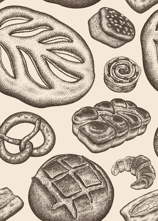 Bakery. Seamless kitchen pattern. Vintage engraving style. Vector illustration of food design for textiles, paper, wrapping, packaging, fabric, tissue. Hand drawing.