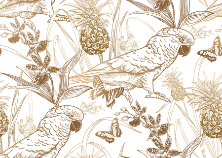 Parrot birds, pineapple, flowers orchid and butterfly. Seamless pattern. Gold foil white. Vector illustration. Template for textiles, paper, wallpaper, Hawaiian shirts. Nature style. Vintage engraving