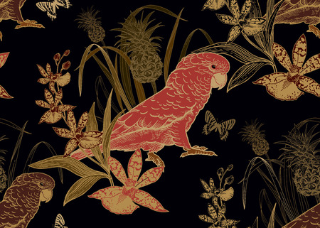 Pink parrot, pineapple, flowers orchid and butterfly. Seamless pattern. Gold foil, black. Vector illustration. Template for textiles, paper, wallpaper, Hawaiian shirts. Nature style. Vintage engraving Illustration