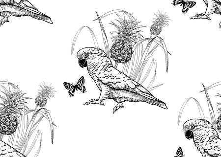 Parrot birds, pineapple and butterfly. Seamless pattern. Black and white. Vector illustration. Template for fabrics, textiles, paper, wallpaper, summer Hawaiian shirts. Nature style. Vintage engraving