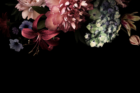 Vintage flowers. Peonies, tulips, lily, hydrangea on black. For business cards, covers, cosmetics and perfume packaging, interior decoration. Floral background. Baroque style floristic illustration.