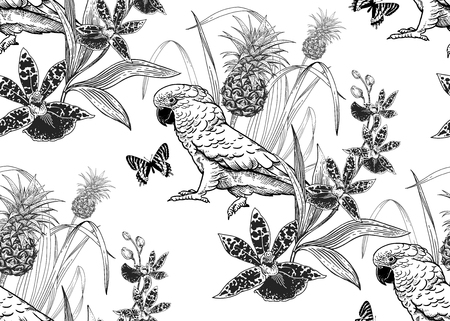 Parrot birds, pineapple, flowers orchid and butterfly. Seamless pattern. Black and white. Vector illustration. Template for textiles, paper, wallpaper, Hawaiian shirts. Nature style. Vintage engraving
