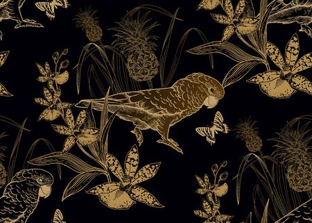 Pájaros loros, piña, flores orquídeas y mariposas. Patrón sin costuras. Lámina de oro negra. Ilustración vectorial. Plantilla para textiles, papel, papel tapiz, camisas hawaianas. Estilo de la naturaleza. Grabado de época