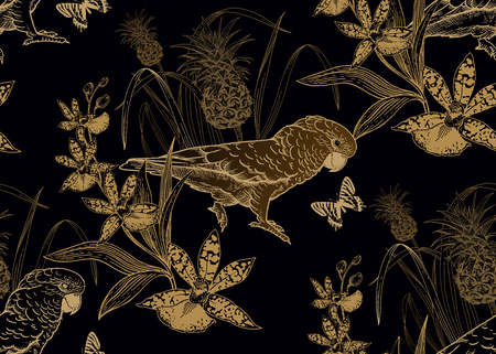 Uccelli pappagallo, ananas, fiori di orchidea e farfalla. Modello senza soluzione di continuità. Lamina d'oro nera. Illustrazione vettoriale. Modello per tessuti, carta, carta da parati, camicie hawaiane. Stile della natura. Incisione vintage