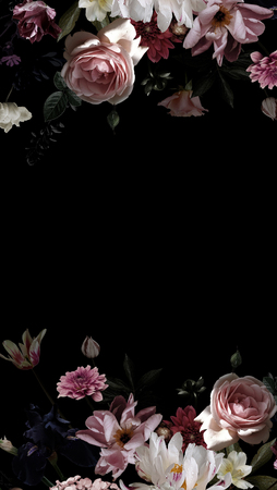 Garden flowers. Floral decoration. Black background for text and frame of luxurious roses and peonies. Vintage. Beauty and Romance.