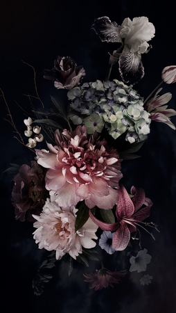 Peonies, hydrangea, lily, iris and tulips in bloom. Vintage bouquet of beautiful garden flowers on black. Floristic decoration. Floral background. Baroque style. Reklamní fotografie - 120903587