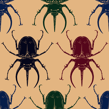 Color beetles isolated on gold background. Seamless pattern with insect. Sketch of bug. Realistic drawing. Vector illustration.