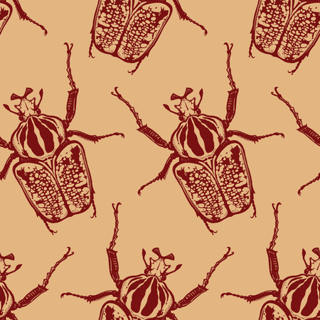 Red beetles isolated on gold background. Seamless pattern with insect. Sketch of bug. Realistic drawing. Vector illustration. Иллюстрация