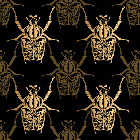 Goliath beetle. Gold foil print on black background. Seamless pattern with insect. Sketch of bug. Realistic drawing. Vector illustration.