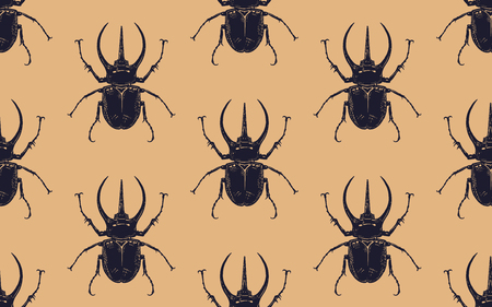 Black beetles isolated on gold background. Seamless pattern with insect. Sketch of bug. Realistic drawing. Vector illustration. Illustration