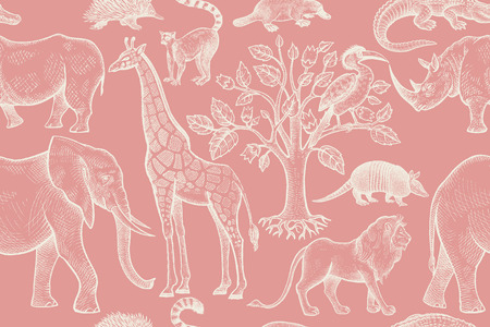 Animals, birds of wild world and trees seamless pattern. Vintage background. Vector illustration art. Hand drawing. Red and white. For design paper, wallpaper, textiles, fabrics, clothes, interior Stock Vector - 123526036