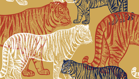 Tiger. Seamless pattern with animals of Africa. Hand drawing of wildlife. Vector illustration art. Full-color drawing. Old engraving. Vintage. Design for fabrics, paper, textiles, fashion.