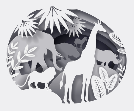 Vector illustration of paper art. African animals elephant, giraffe, lion, rhino, hippo, zebra. Leaf of palm, exotic plants. Black and white. Template for design of text, cover, tutorial for children