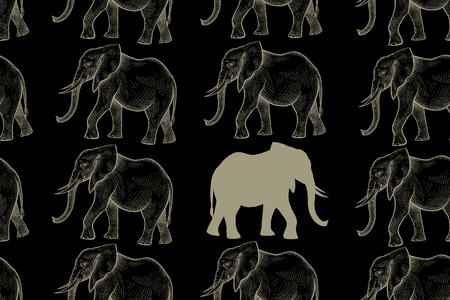 Elephant. Seamless pattern with drawing animals and silhouettes. Hand graphic of wildlife. Vector illustration art. Black and gold. Old engraving. Vintage. Design for fabrics, paper, textiles, fashion Illustration