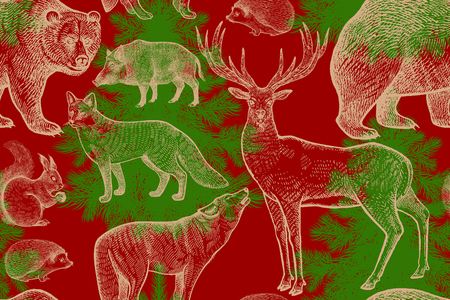 Forest animals and trees seamless pattern. Squirrel, deer, bear, wolf, fox, hedgehog, wild boar and spruce. Hand drawing. Gold, red and green. Vintage engraving background. Vector illustration art. Illustration