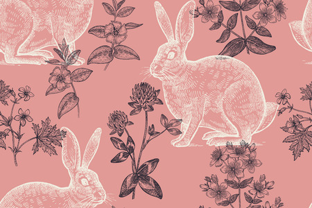 Forest animals and plants seamless pattern. Hares and flowers of clover, geranium, St. Johns wort, periwinkle. Hand drawing. Red and black. Vintage engraving. Vector illustration art.
