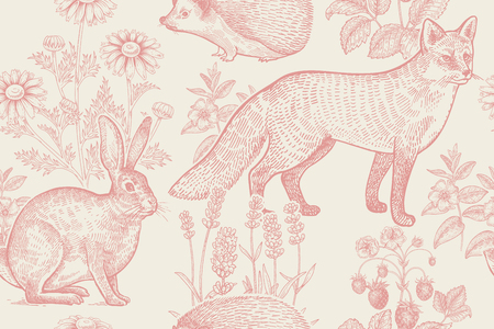Forest animals and plants seamless pattern. Hare, hedgehog, fox, berries strawberry, flowers lavender and chamomile. Hand drawing. Pink and white. Vintage engraving. Vector illustration. Illustration